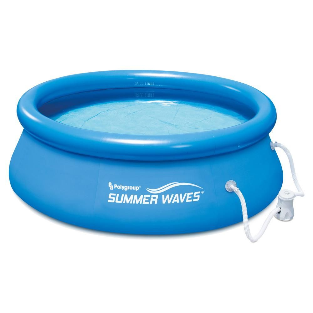 Summer Waves 8 Ft Round 2 5 Ft D Inflatable Above Ground Pool With Filter Pump P1000830a167 The Home Depot Summer Waves Inflatable Swimming Pool Above Ground Pool Pumps