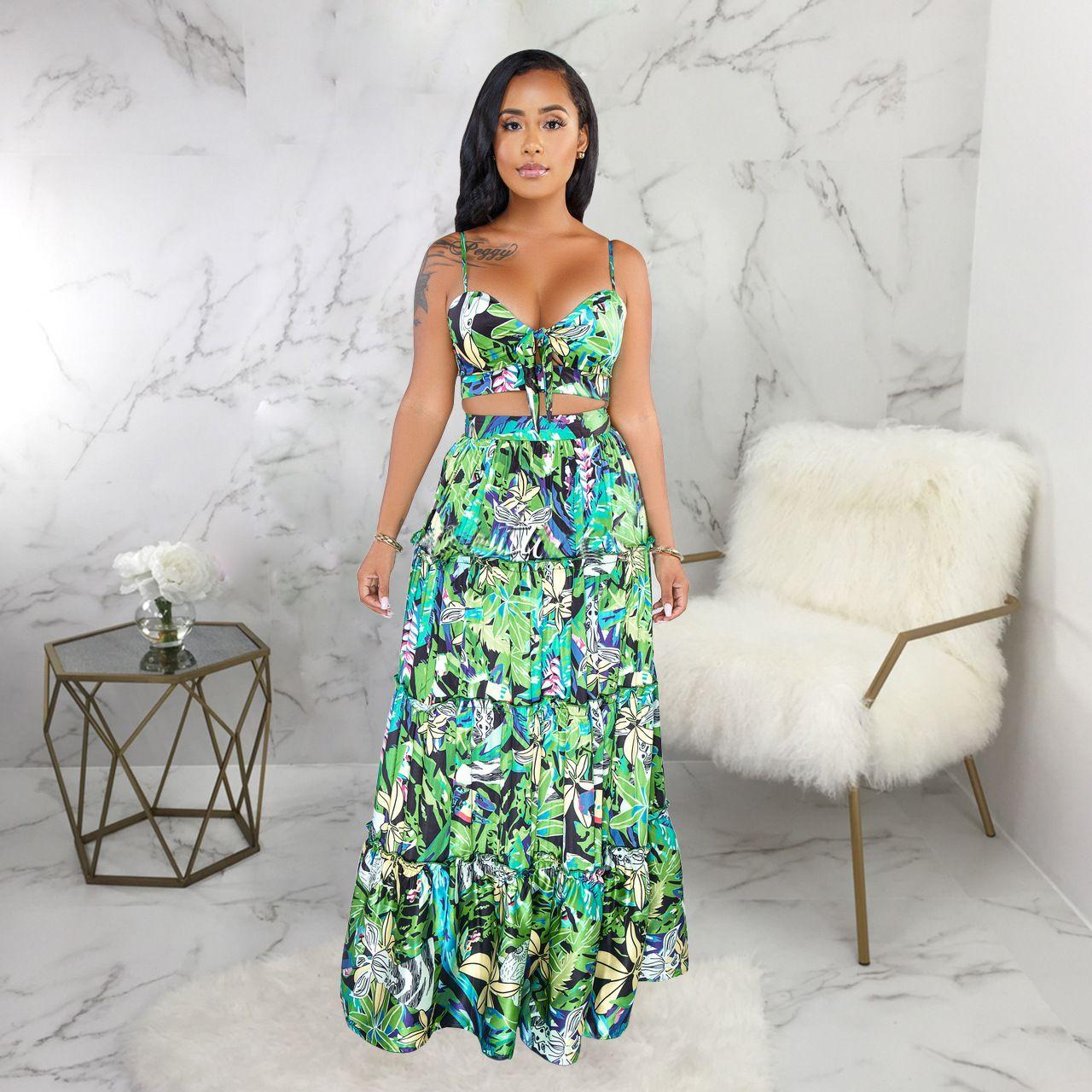 Floral Print Lace Up Maxi Skirt 2 Piece Set Floral Prints Clothes Long Skirt Print Clothes [ 1280 x 1280 Pixel ]
