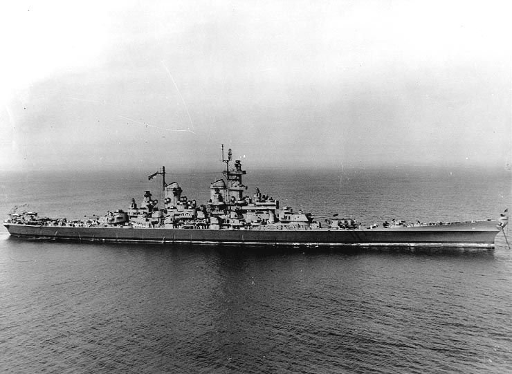 Wisconsin during her initial sea trials in mid 1944.