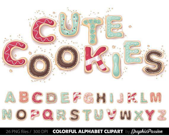 Cookies Alphabet Clip Art Graphic Letters Clipart Abc Digital