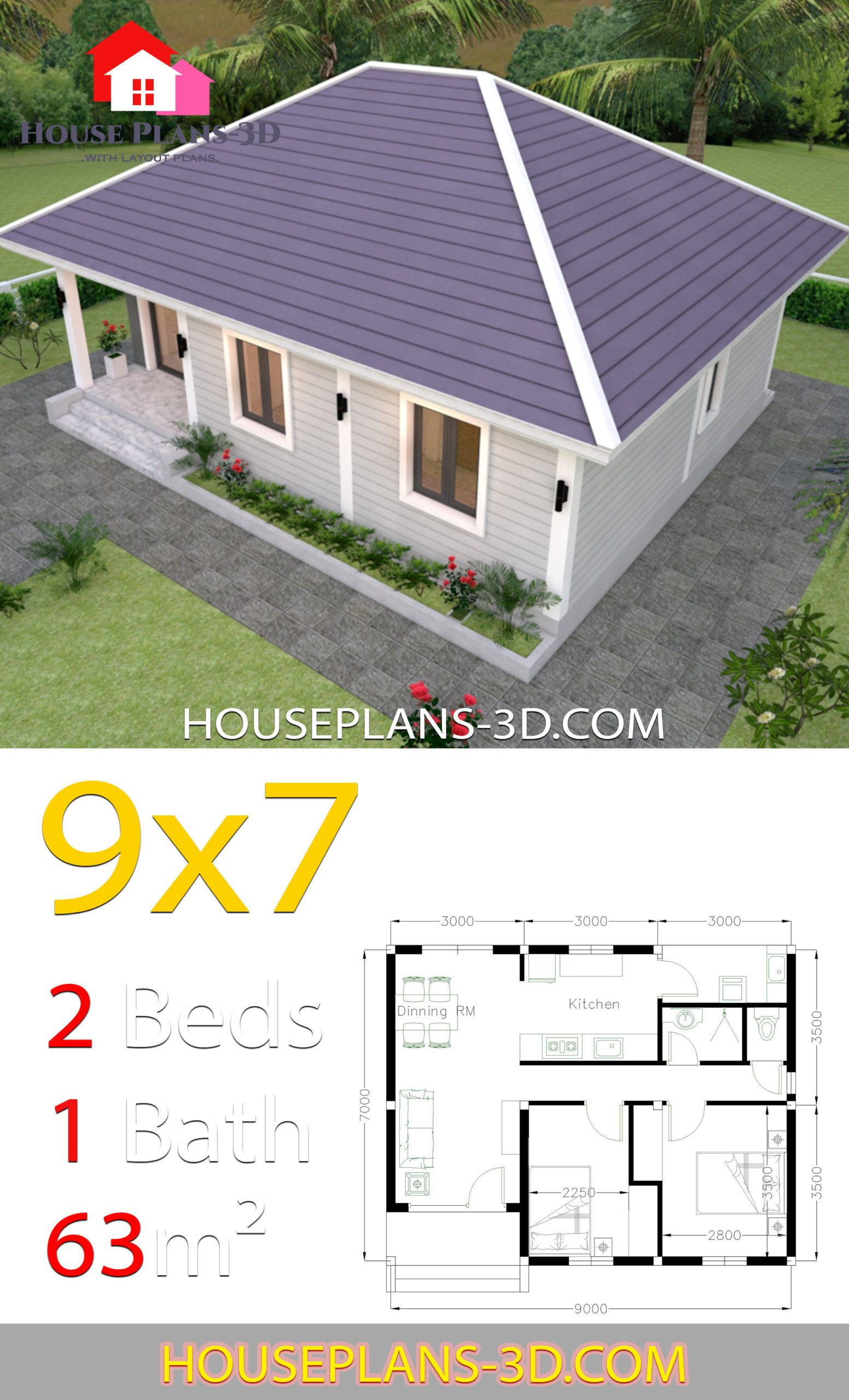 House Plans 9x7 With 2 Bedrooms Hip Roof House Plans 3d House Plans House Roof Simple House Plans