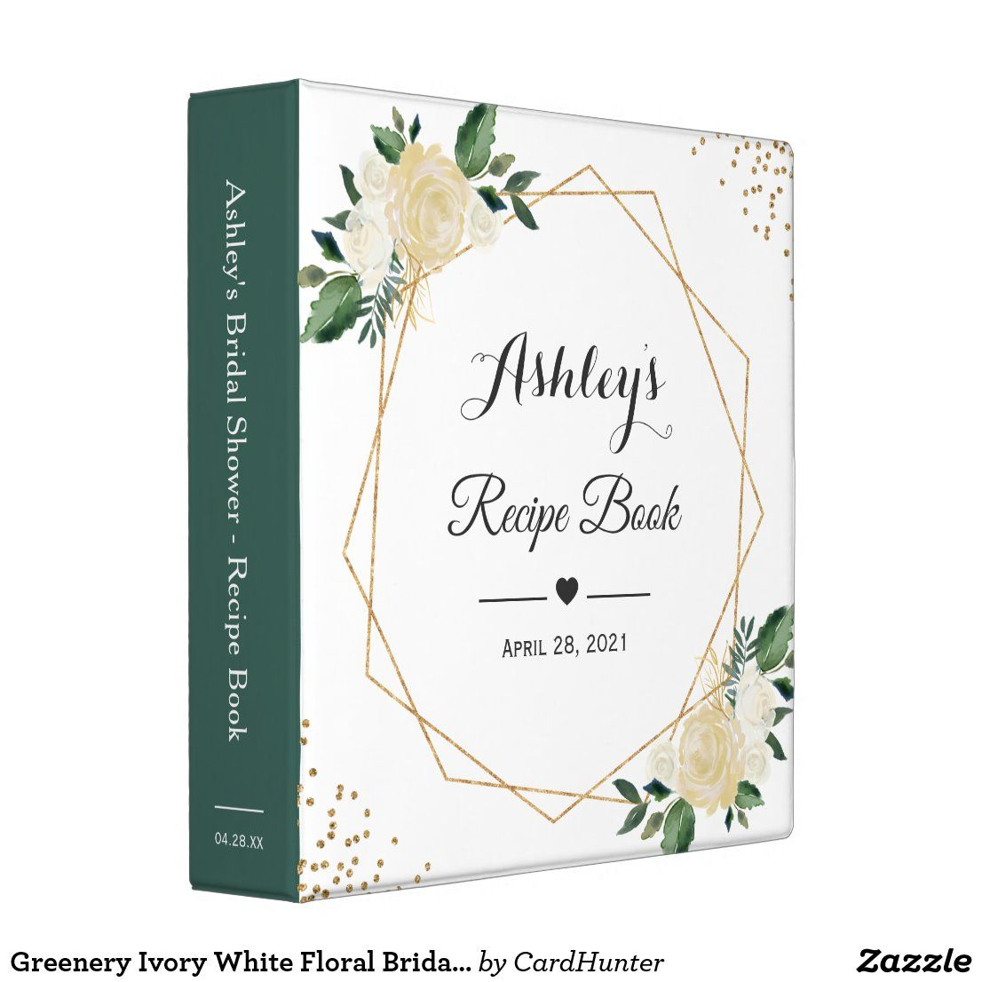 Greenery Ivory White Floral Bridal Shower Recipe 3 Ring