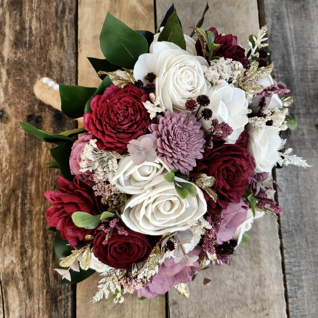 Wood flower forever bouquet with flowers in burgundy