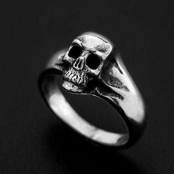 VTG Solid Heavy Skull Pinky Sterling Silver Ring 925