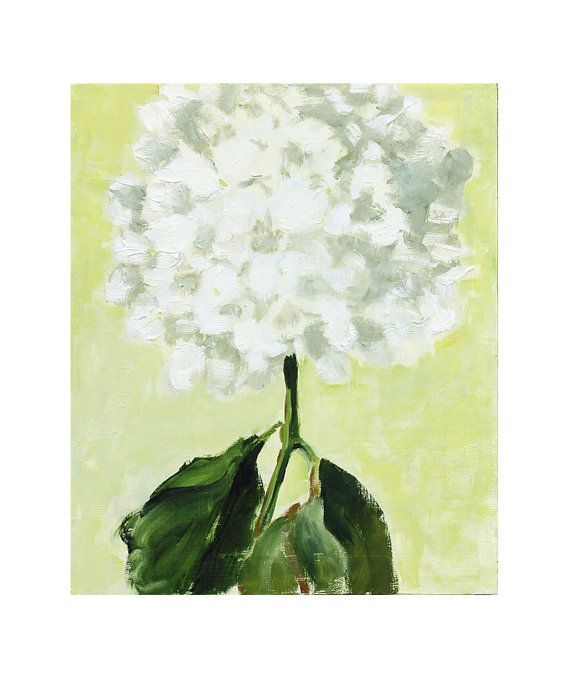 White Hydrangea Still Life Painting oil on wood 10x12 wall art | For ...