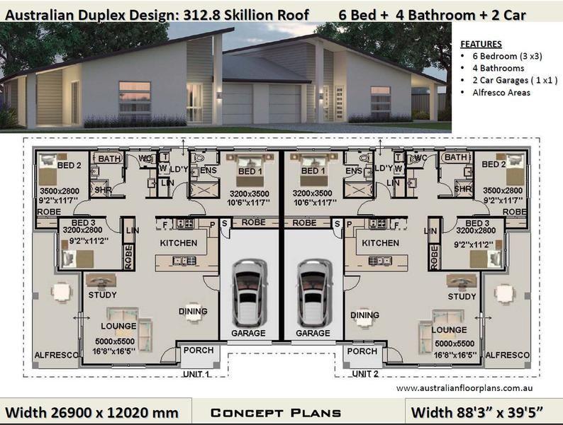 Best Selling Duplex Plans Duplex House Plans Modern House Etsy In 2021 Duplex Design Skillion Roof Duplex Floor Plans