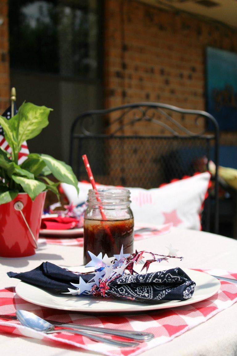 Red White And Blue Summer Tablescape Tablescapes Table