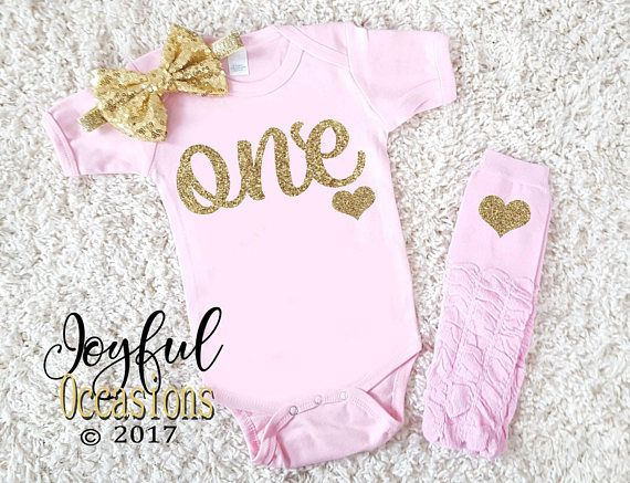 f7816e3ee 1st Birthday Outfit Baby Girl - Cute 2pc Pink Gold Glitter First Birthday  Set With Leg Warmers For O