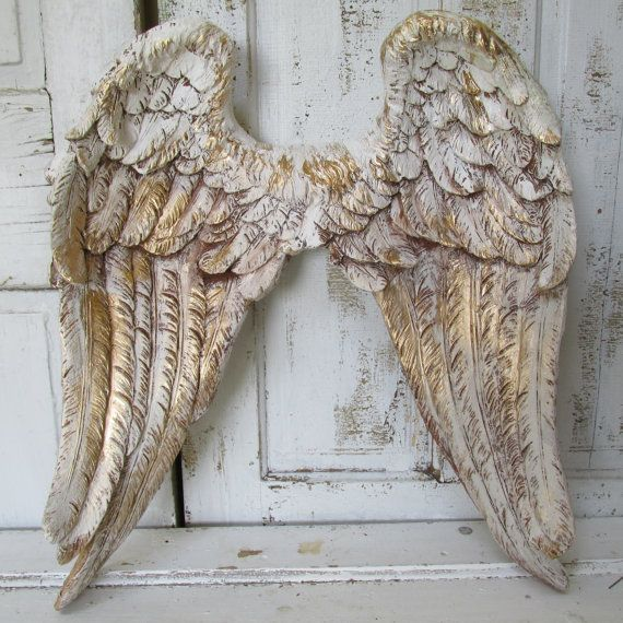 angel wings wall decor white gold with brown distressing shabby cottage chic large home. Black Bedroom Furniture Sets. Home Design Ideas