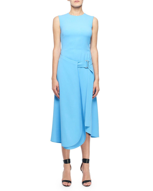 Victoria Beckham Sleeveless Belted Midi Dress Belted Midi Dress Victoria Beckham Dress Dresses [ 1500 x 1200 Pixel ]