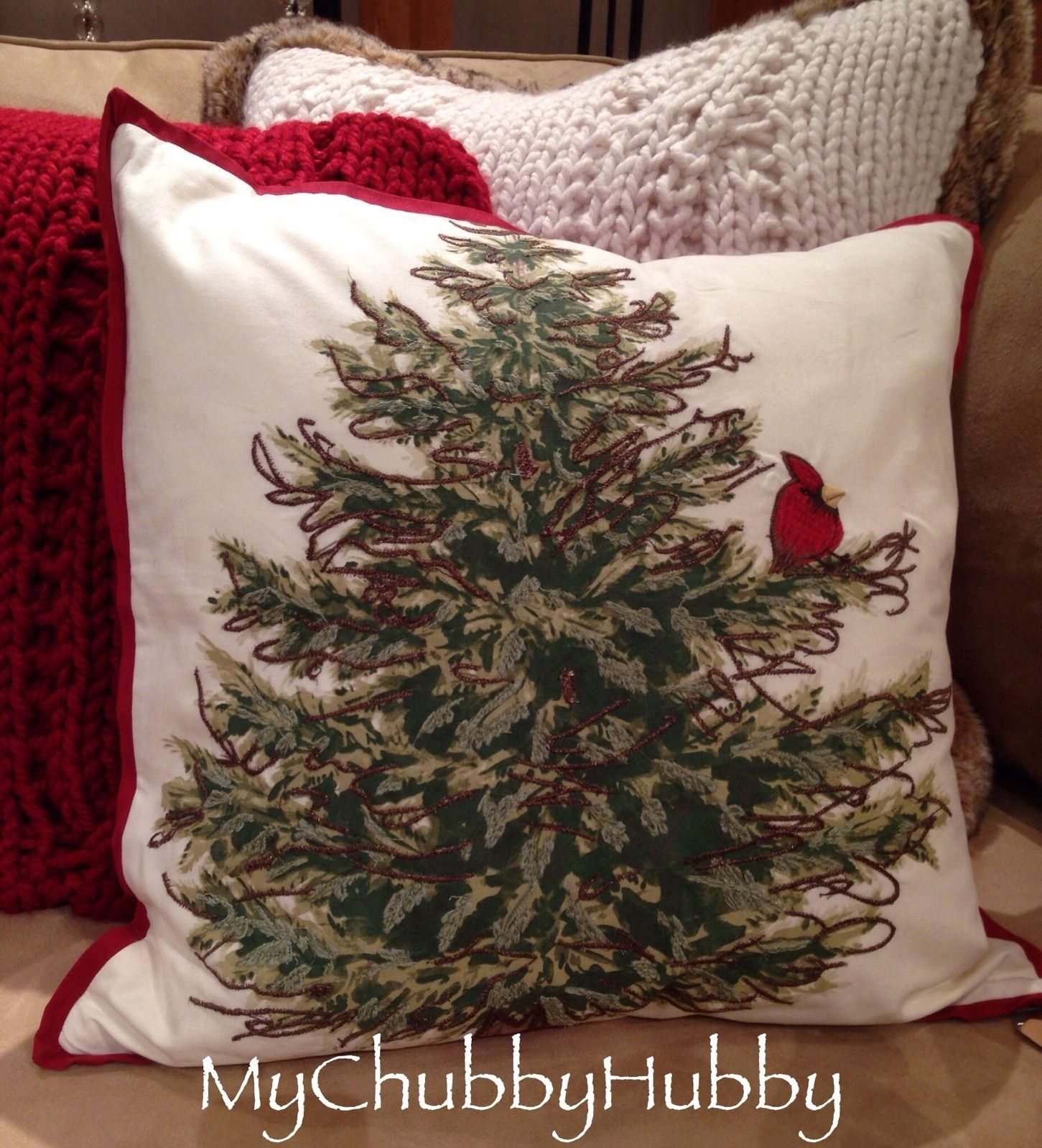 NWT Pottery Barn ~CARDINAL BIRD IN TREE~ PILLOW Cover Holiday ...