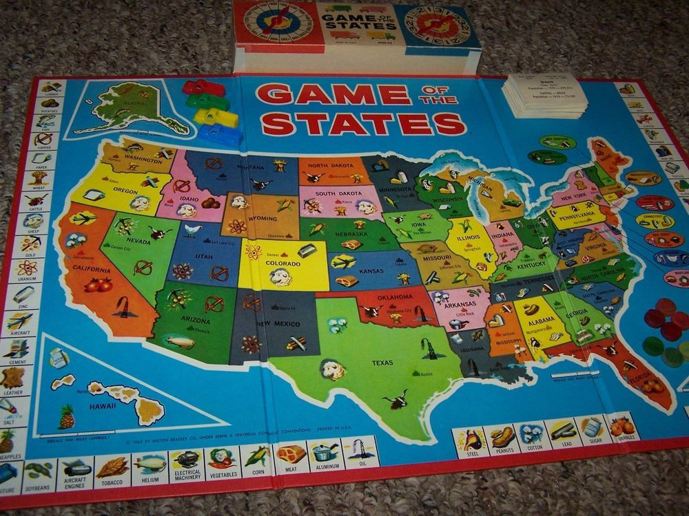Vintage 1960 Game Of The States Board Game Miltondley 4920 Milton Dley