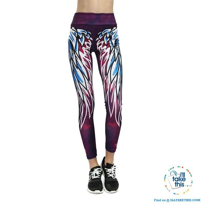 29ed7ffce6 Sheer PURPLE Angel Wing 3D Printed Women's Leggings/Work Out Pants - 4  Colored