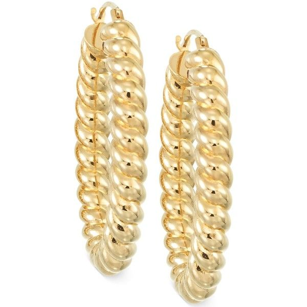 Signature Gold Rope Hoop Earrings in 14k Gold $184 ❤ liked on