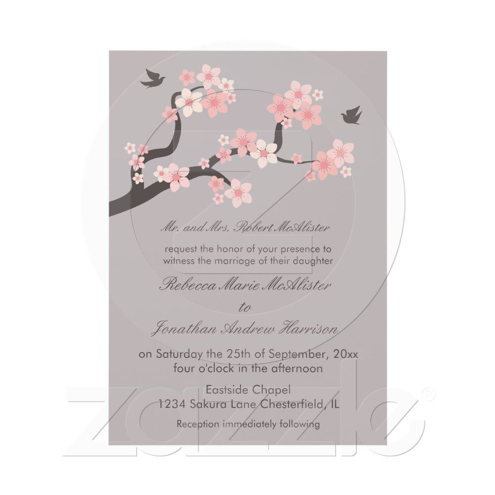Cherry Blossoms Pink/Grey Wedding Invitation | Pink grey wedding ...