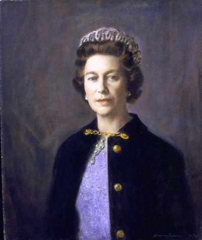 NORMAN HEPPLE (1908-1996), Portrait of Her Majesty Queen Elizabeth II (b.1926); oil on artist's board; 30 x 25 inches