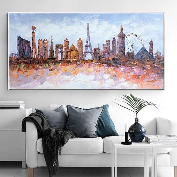 Original Las Vegas Skyline Oil Paintings On Canvas Modern Etsy Oil Painting On Canvas Modern Abstract Painting City Scape Painting