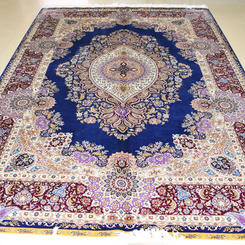 Mingxin 6x9 Feet Blue Colour Persian Silk Carpets Handmade Tabriz Hand Knotted Carpet For Living Room Large Rugs Carpet Handmade Living Room Carpet Silk Carpet