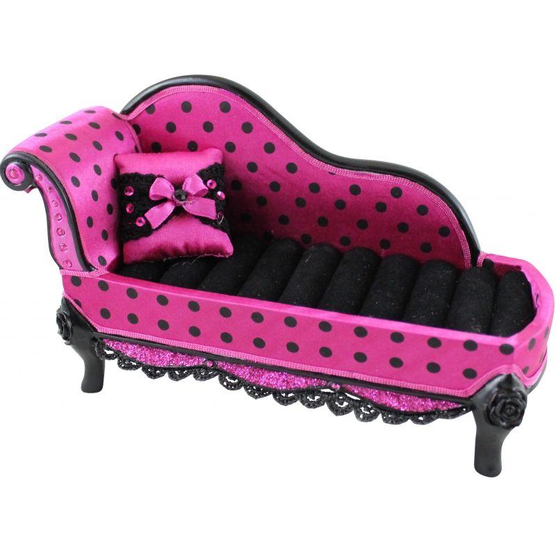 Hot Pink Polka Dot Romance Lounge Chair Ring Holder