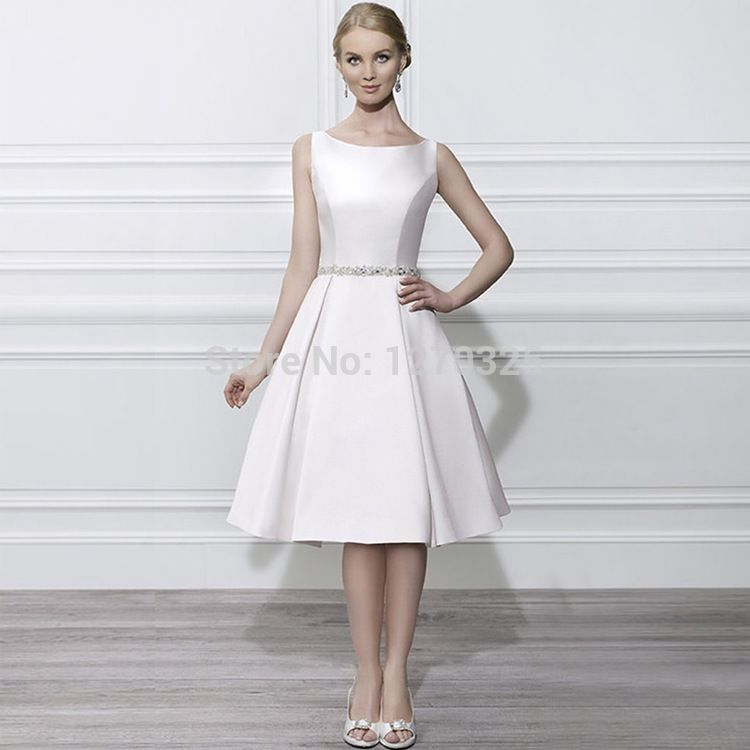 White Knee Length Cocktail Dresses