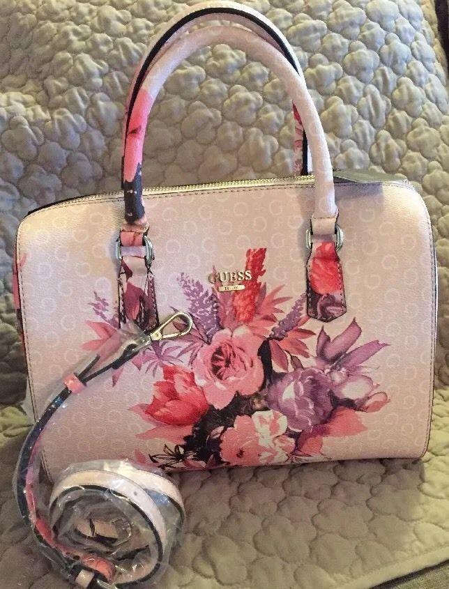 NWT GUESS Ashville Blush Pink Box Satchel Bag Purse G Logo Print FF655106 85460e20d8cb2