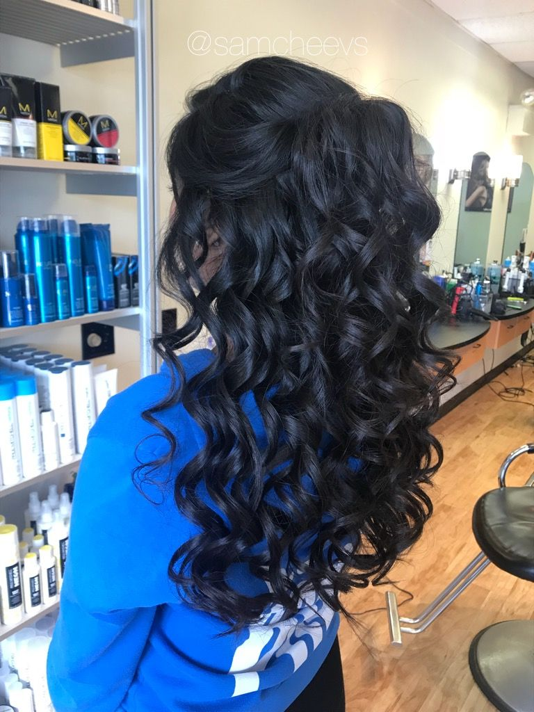 Prom wedding event hair half up half down flowing curls dark black hair types Half up half
