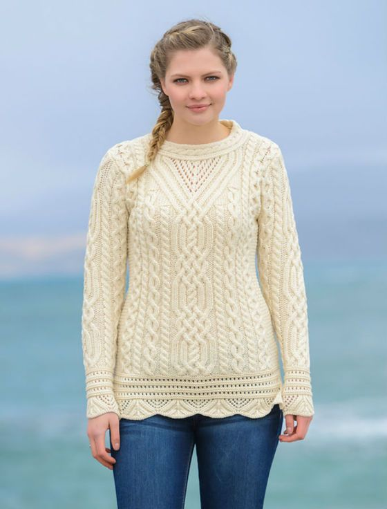 Aran Tunic Sweater with Scallop Lace - Natural White … | Irish Sw…