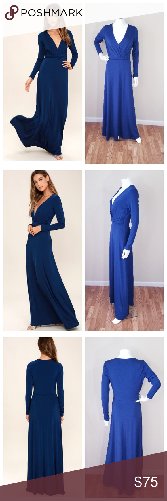 Luluus navy blue long sleeve maxi dress in my posh picks