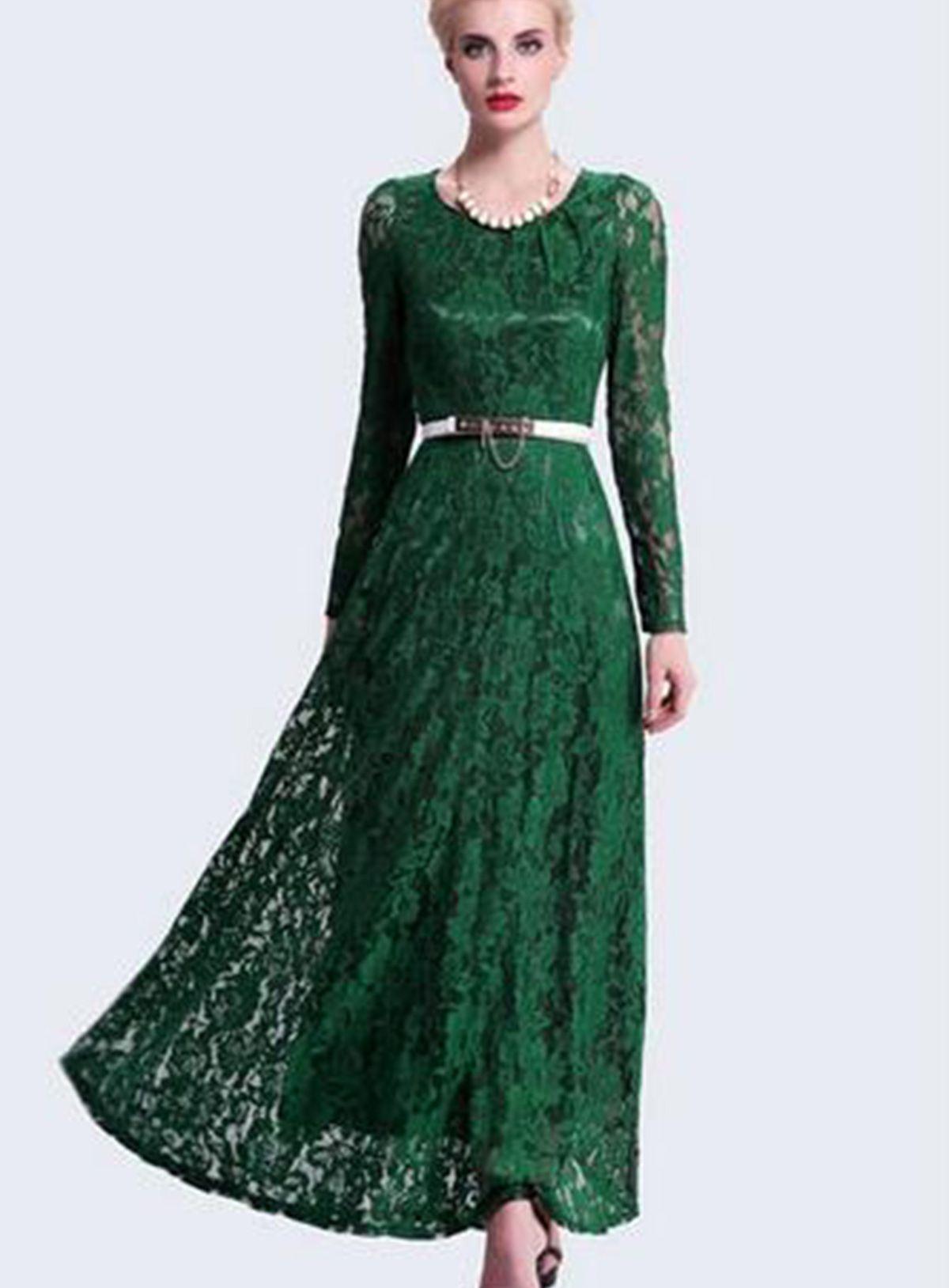 Gorgeous long green lace dress