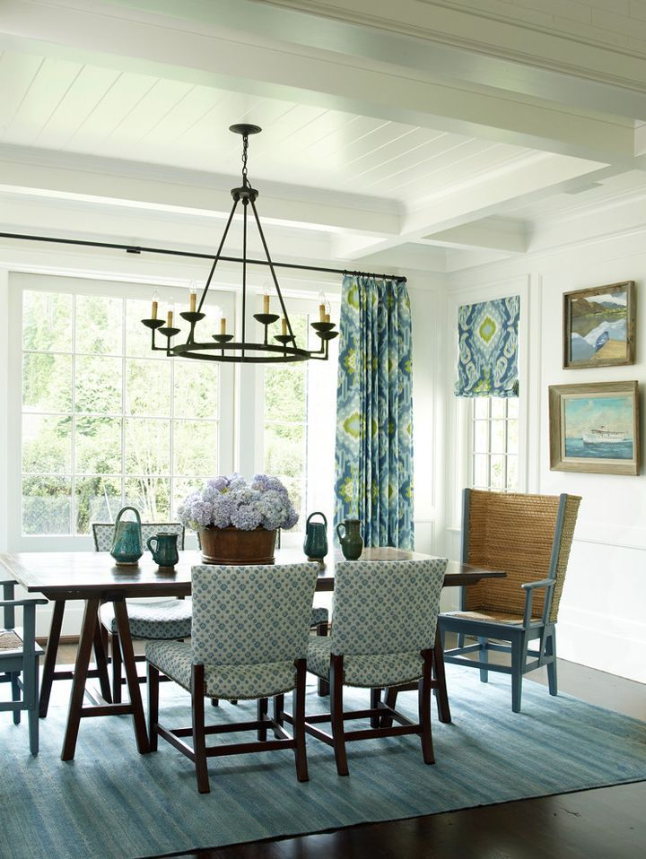 Dining Room Decor Ideas   Green Blue And White Coastal Beach Cottage Style Dining  Room | Phoebe Howard