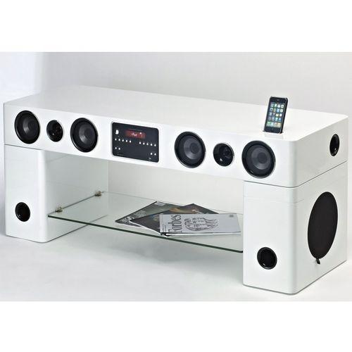vente unique meuble tv home cinma intgr watts blanc pas cher achat - Meuble Tv Home Cinema Integre Pas Cher