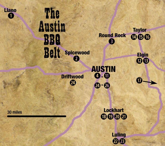 Map Of Texas Bbq Restaurants Near Austin
