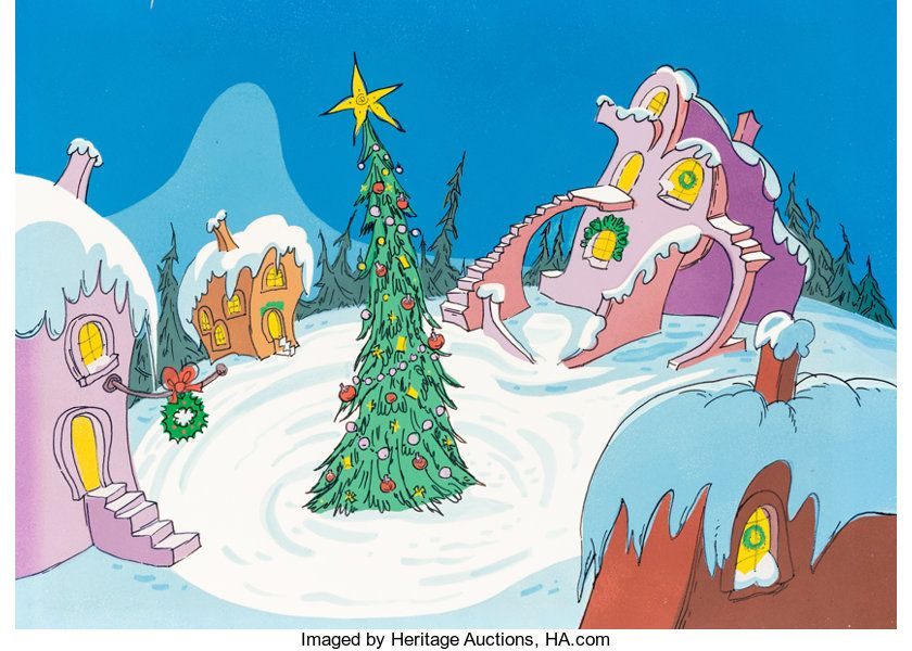 Animation Art Painted Cel Background How The Grinch Stole Christmas Whoville Christmas Treepre Whoville Christmas Grinch Stole Christmas Grinch Christmas Tree