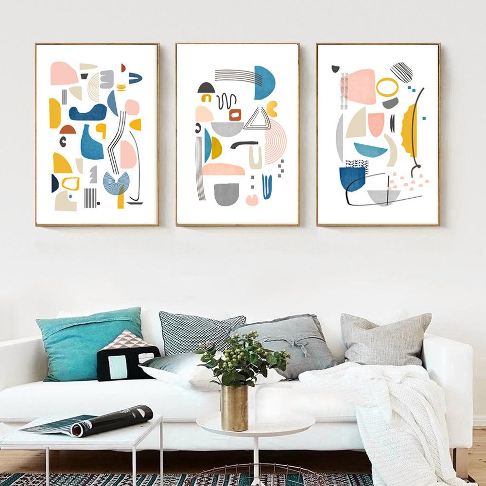3 Piece Wall Art Downloadable Prints Scandinavian Poster Etsy In 2020 Geometric Art Prints Modern Art Abstract Yellow Art