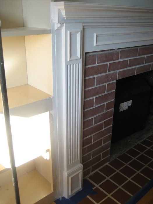 How to reface a brick fireplace with wood mantel and - How to reface a brick fireplace ...