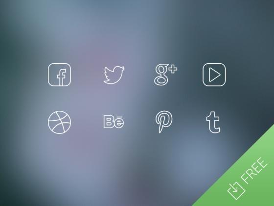 Ultra Thin Social Media Icons | TheFreebieBay.com