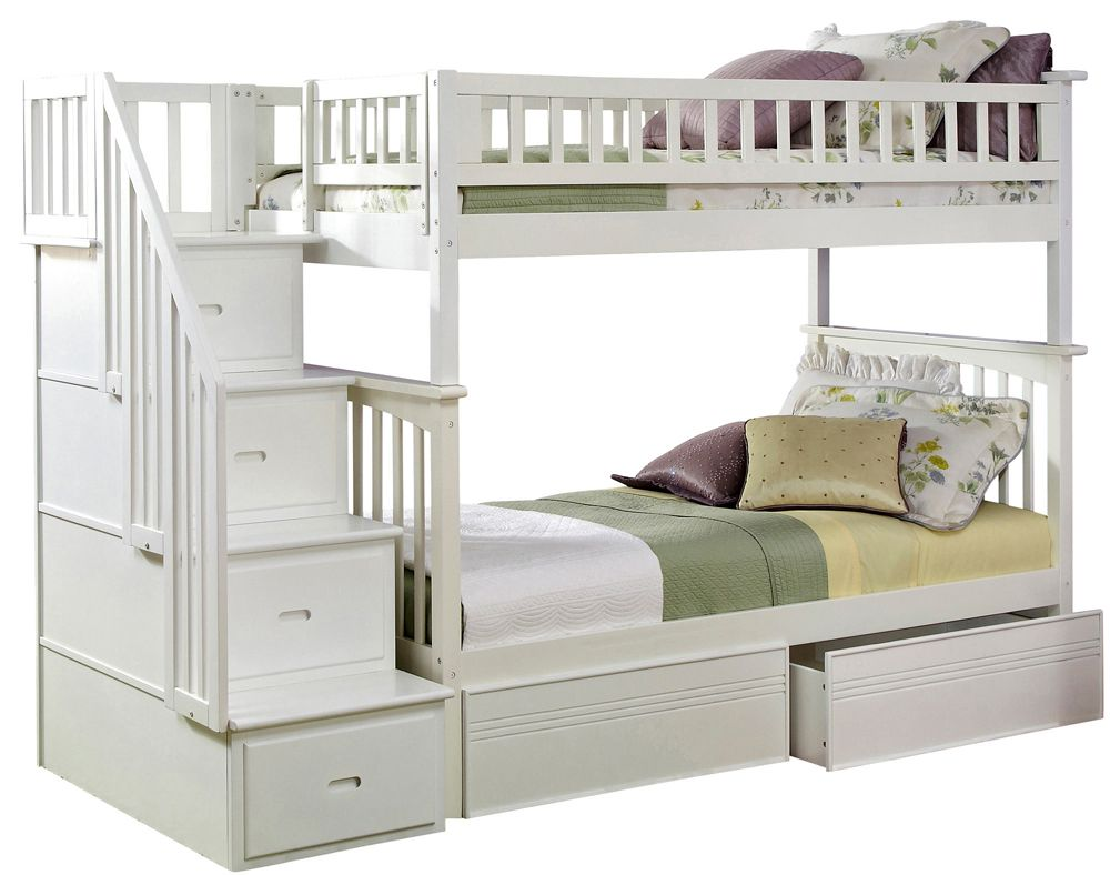 Loft bed with storage stairs  Staircase Bunk Bed TwinTwin w Flat Panel Bed Drawers in White