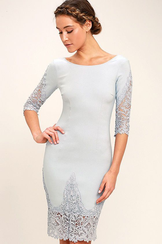 Midnight Garden Blue Grey Lace Bodycon Dress In 2019 Grey