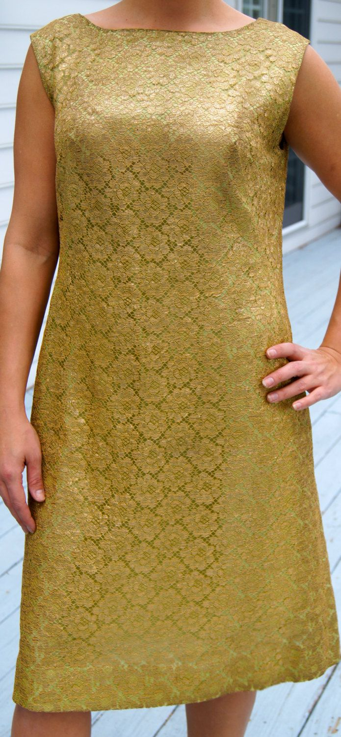Green dress with lace overlay  Large s Gold Lace Shift Dress s gold cocktail dress Mid