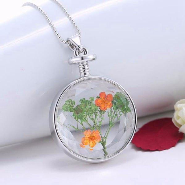 Trendy round glass dried flower women necklace alloy hand made trendy round glass dried flower women necklace alloy hand made pinterest round glass rounding and glass mozeypictures Choice Image