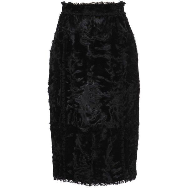 Dolce & Gabbana Lamb Fur Pencil Skirt ($9,295) ❤ liked on Polyvore featuring skirts, nero, dolce gabbana skirts, fitted skirts, fitted pencil skirt, knee length skirts i fur skirt