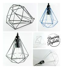 DIAMOND CAGE PENDANT LIGHT | with coloured fabric cable | vintage | shade
