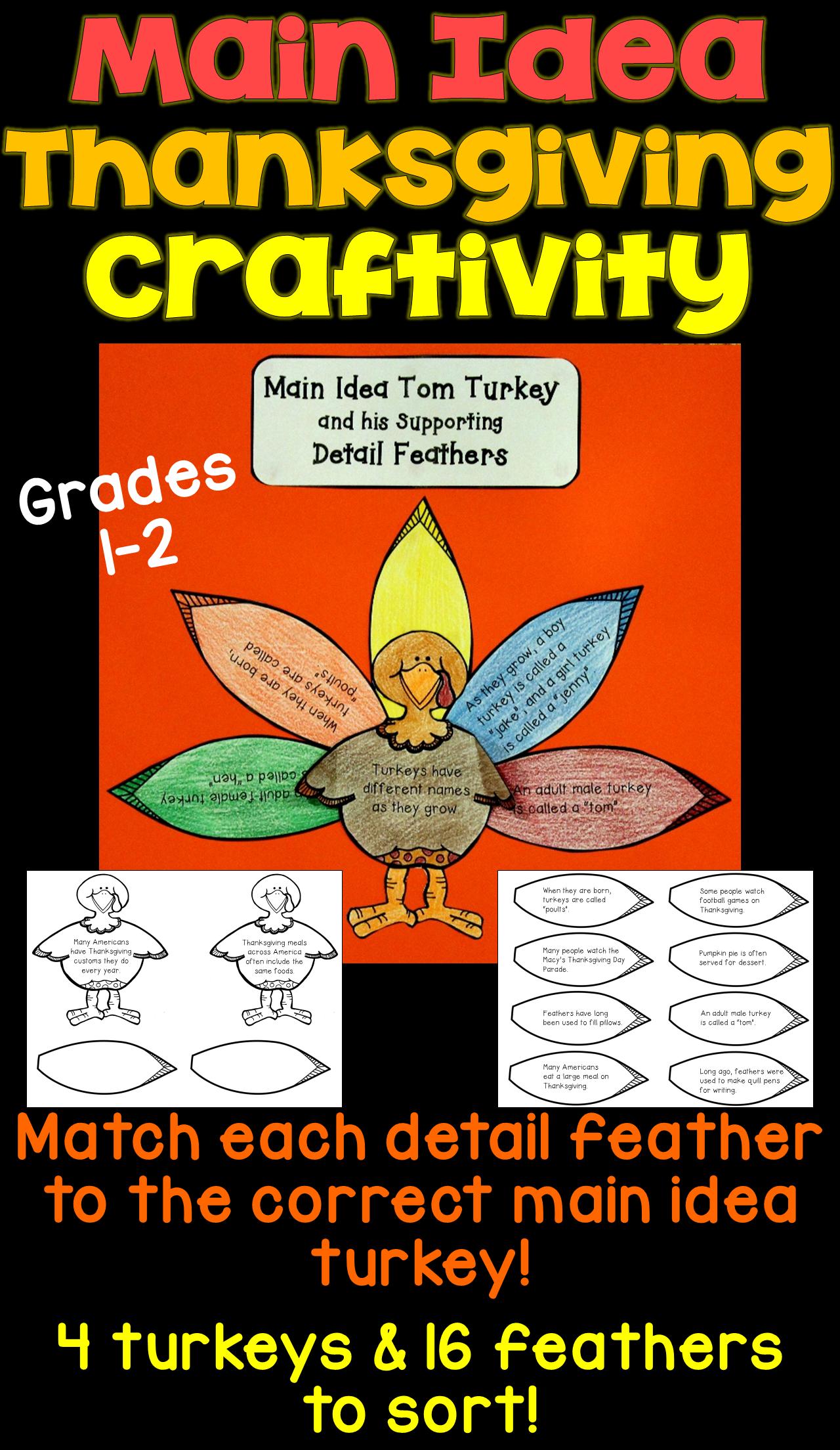Thanksgiving Main Idea Craftivity 1st Amp 2nd Grade