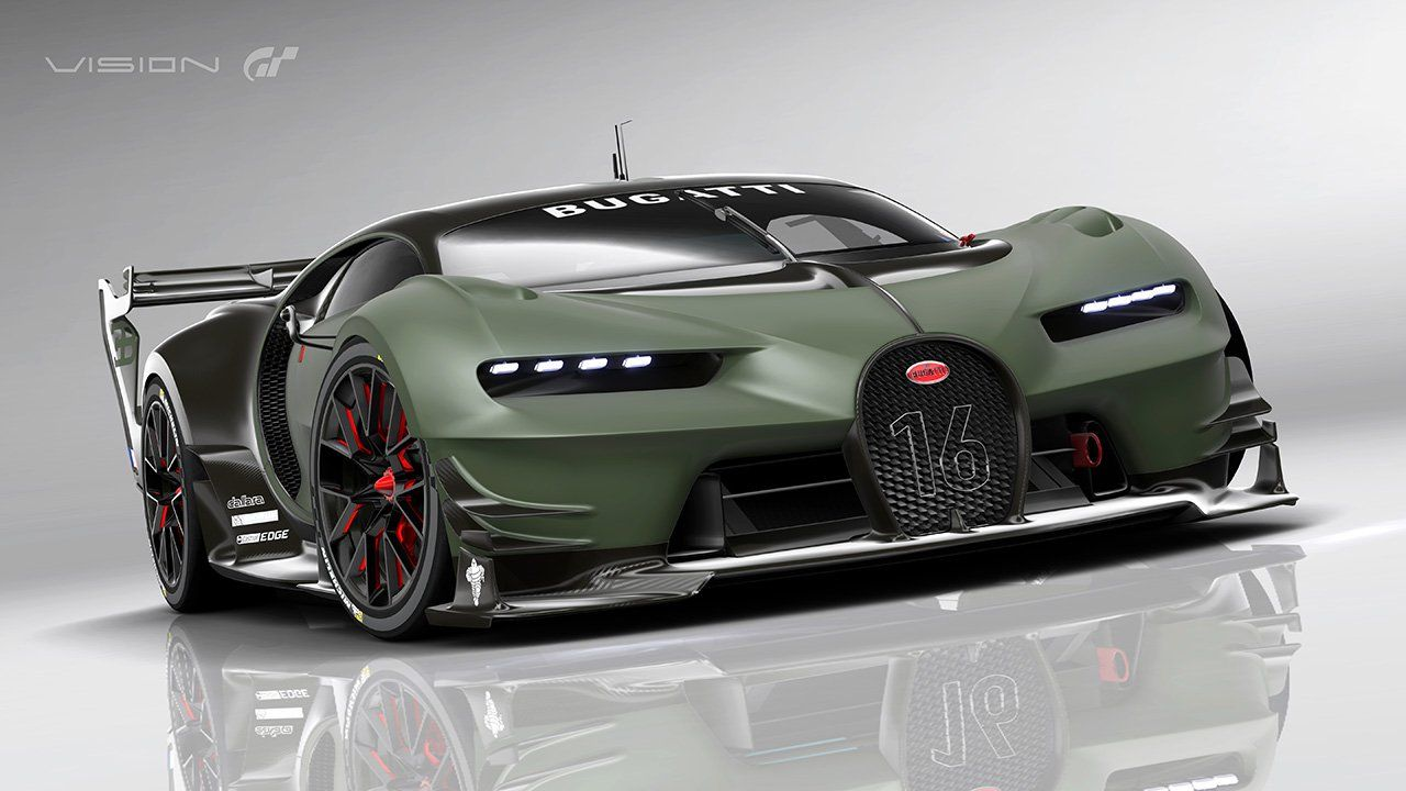 bugatti vision gran turismo car green black version bugatti pinterest turismo and cars. Black Bedroom Furniture Sets. Home Design Ideas