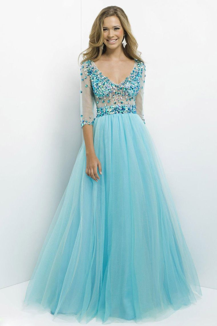 2014 New Jewels Half-Sleeve Sexy Ball Gown Aqua Tulle Long Prom ...