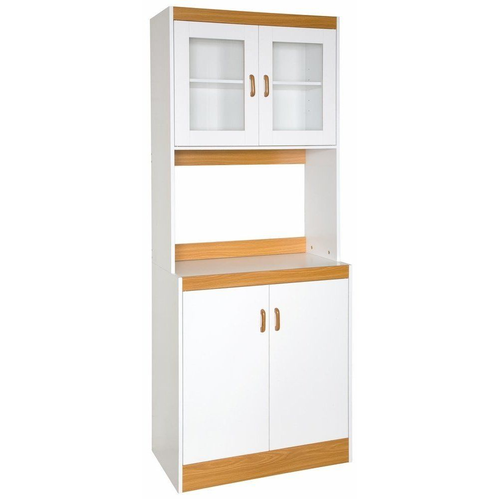 Home Source Industries Tall Kitchen Cabinet With Solid Door Below Shelf And Gl Doors White Light Wood Trim Product Description This Mic