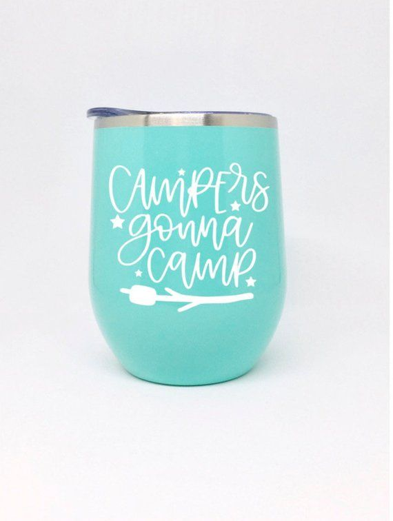 6f114e06af9 camping wine glass, glamping gear, camping cup, stainless steel wine  tumbler with lid and straw, cam