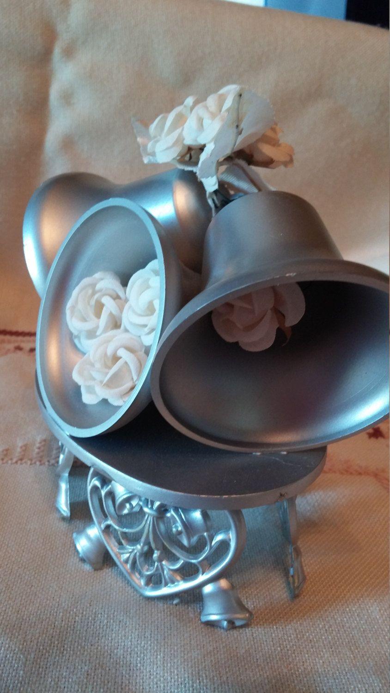 Beautiful vintage silver bells cake topper hearts bells flowers