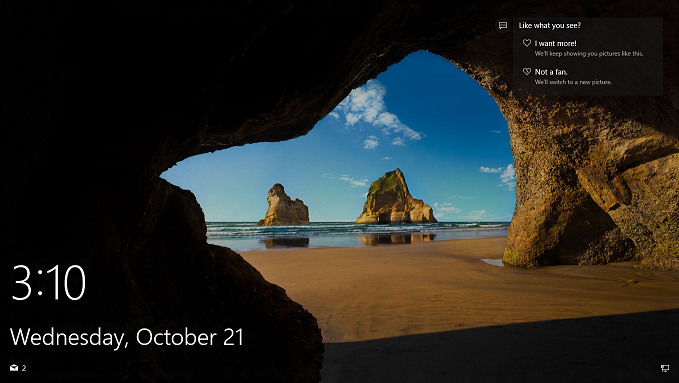 Windows Spotlight on the lock screen (Windows 10