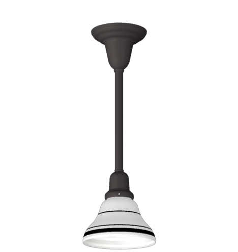 GET > Upshur : Classic Single-Pole Pendant : Oil Rubbed Bronze : Bell Shade with Black Stripe 6w